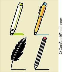 utensili, set, scrittura