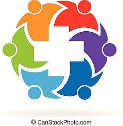 utile, persone, medico, croce, vettore, lavoro squadra, icona