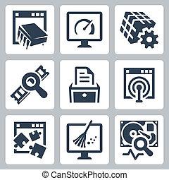 utilità, software, vettore, set, icone