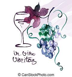 uva, dipinto, leaves., illustrazione, acquarello, vettore, scheda