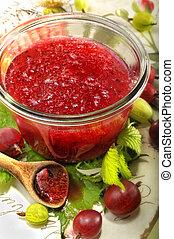 uva spina, marmellata, rosso