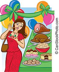 vacanza, appetitoso, buffet