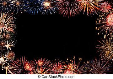 vacanza, cornice, fireworks