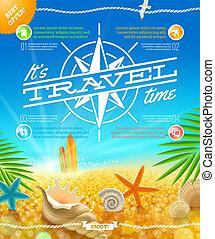 vacanza estate, vacanze, vettore, disegno, viaggiare