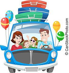vacanza, famiglia, illustrazione