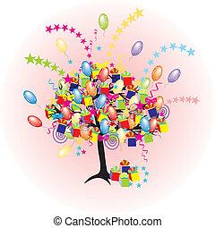 vacanza, festa, baloons, evento, cartone animato, albero, felice, giftes, scatole