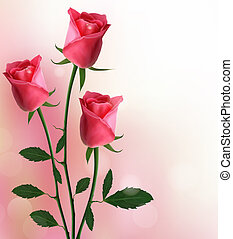 vacanza, sfondo rosso, rose