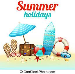 vacanze estate, fondo, manifesto
