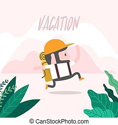 vacation., correndo, uomo