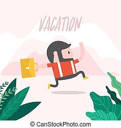 vacation., funzionamento uomo affari