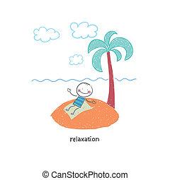 vacation., illustration., uomo
