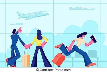 vacation., terminal., viaggiare, giovane, attesa, andare, presa a terra, asse, felice, appartamento, donna, volo, coppia, illustrazione, aereo, fretta, cartone animato, biglietti, passeggeri, bagaglio, aeroporto, vettore, valigia