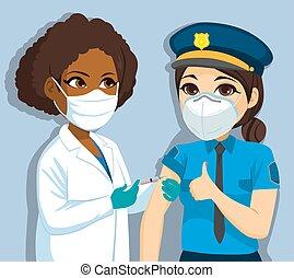 vaccino, donna, polizia, dottore