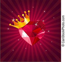 valentina, cuore, scheda, cristallo