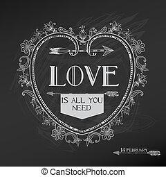 valentine, vendemmia, -, amore, vettore, disegno, giorno matrimonio, scheda