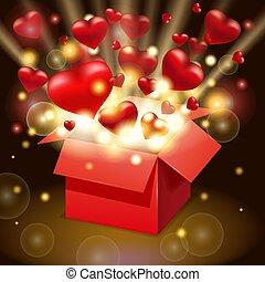 valentines, aperto, luce, explosion., giorno, raggi, cuori, vettore, scoppio, scheda, scatola, rosso, regalo, volare, box., felice, manifesto, luminoso, illustrazione, isolato, presente, bandiera