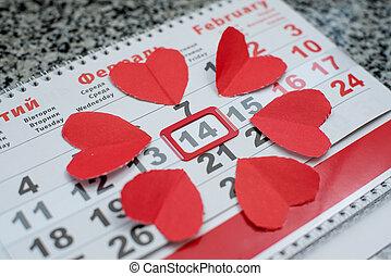 valentines, carta, cuori, calendario, giorno, rosso