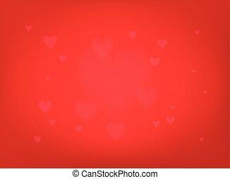 valentines, illustrazione, fondo., vettore, hearts., giorno, rosso