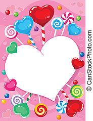 valentines, scheda, caramella