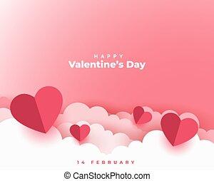 valentines, scheda, giorno, taglio, concetto, stile, carta