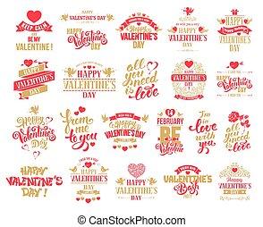 valentines, set, giorno, tesserati magnetici