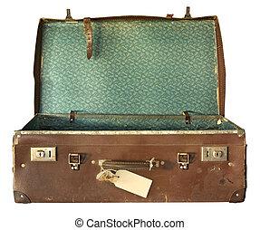 valigia, aperto, vendemmia