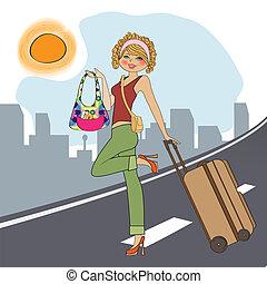 valigia, donna, giovane