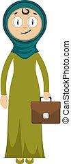 valigia, donna, illustrazione, bianco, vettore, fondo.