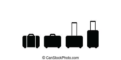 valigia, set, icona