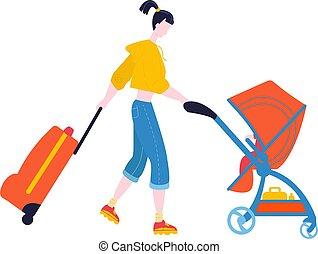 valigia, turista, vettore, donna, viaggio, bianco, camminare, viaggiare, isolato, appartamento, illustration., aeroporto, bagaglio