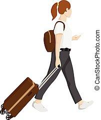 valigia, viaggiare, donna