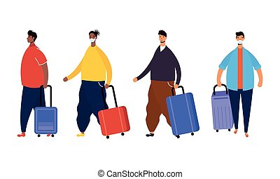 valigie, maschio, viaggiatori, caratteri, avatars, interrazziale