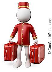 valigie, persone., due, bellhop, bianco, 3d