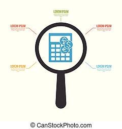 valuta, calcolatore, icona, lente ingrandimento