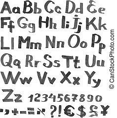 valuta, font, figure, scritto mano, simboli