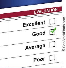 valutazione, elenco, scatola, assegno