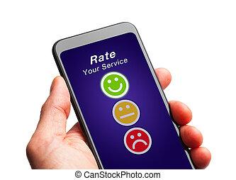 valutazione, telefono, far male, servizio