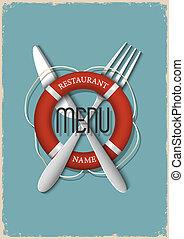 variazione, retro, 3, frutti mare, -, menu, disegno, ristorante