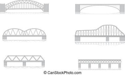 vario, grayscale, vettore, ponte