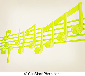 vario, illustration., vendemmia, note, stave., verde, musica, 3d., style., 3d