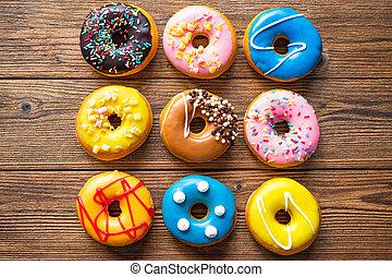 vario, legno, colorito, donuts