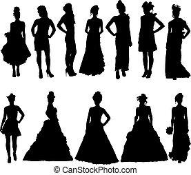 vario, silhouette, vestire, donne