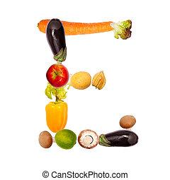 vario, verdura, e, lettera, frutte