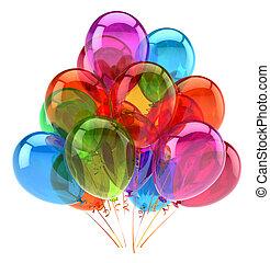 variopinto, decorazione, compleanno, lucido, festa, palloni, felice