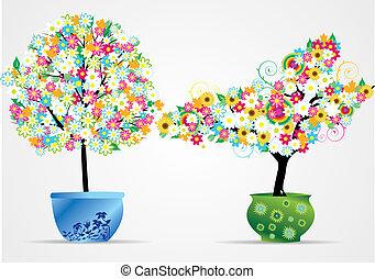 vaso, albero, illustra, vettore, fiore