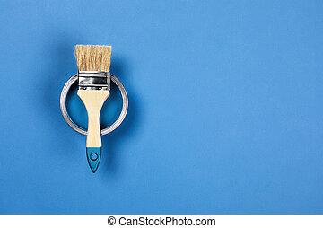 vaso, brush., vernice, sfondo blu