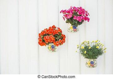 vaso, fiori, colorito, panca