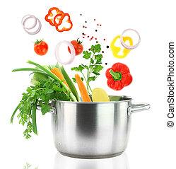vaso, fresco, cadere, verdura, inossidabile, casseruola, acciaio