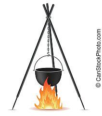 vaso, fuoco, sopra, vettore, cottura