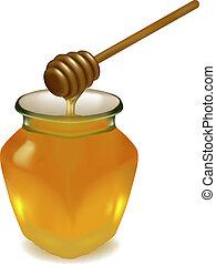 vaso miele, legno, drizzler.